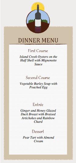 dinner menu card template