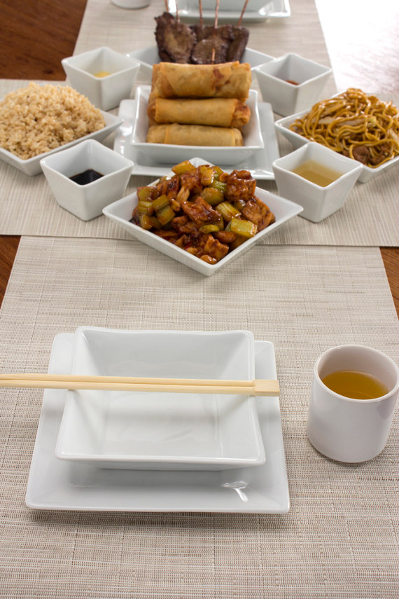 chinese food table setting with pillivuyt quartet plates