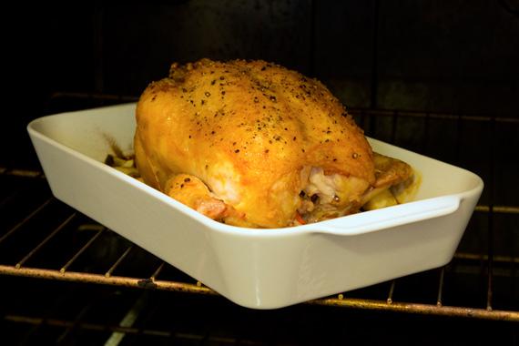 roast chicken in pillivuyt roaster