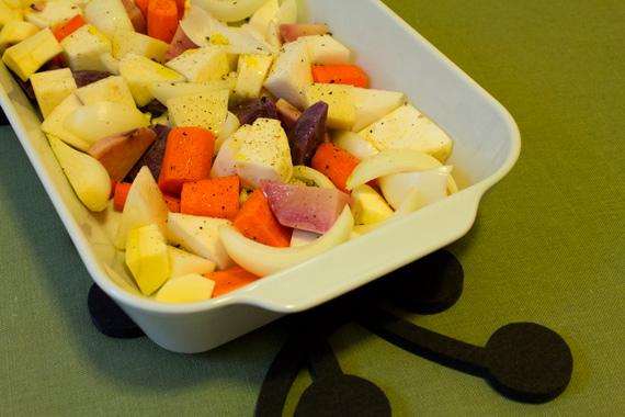 root vegetables in pillivuyt roaster