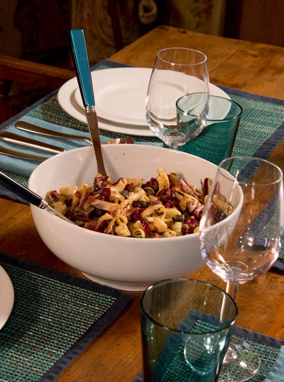 pasta salad in pillivuyt sancerre serving bowl