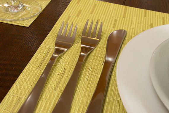 david mellor cafe flatware on chamomile chilewich bamboo placemats