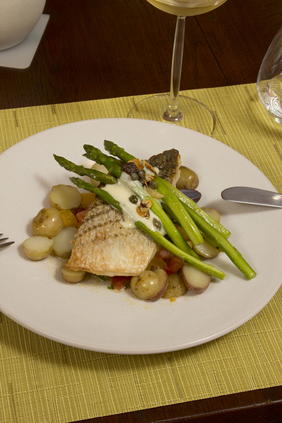 striped bass with asparagus on jars poeme dinner plate