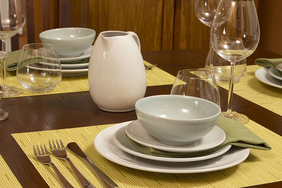 summer table setting of jars ceramics poeme dinnerware