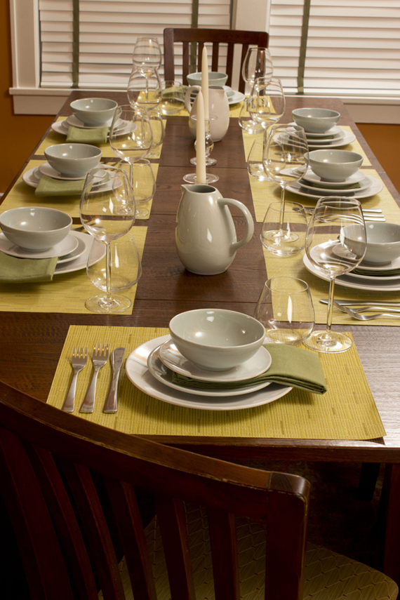 Summer Table Setting Of Jars Poeme Plates And Bowls With Chilewich Bamboo  Placemats