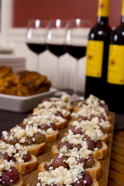 Roasted Grape Crostini on a J.K. Adams Heritage Board Colonial