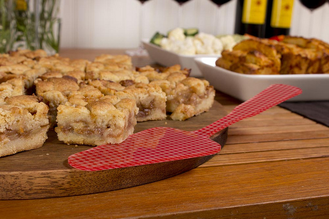 Apple Pie Bars on a J.K. Adams Heritage Board with Sabre Gingham Charm Tart Slicer