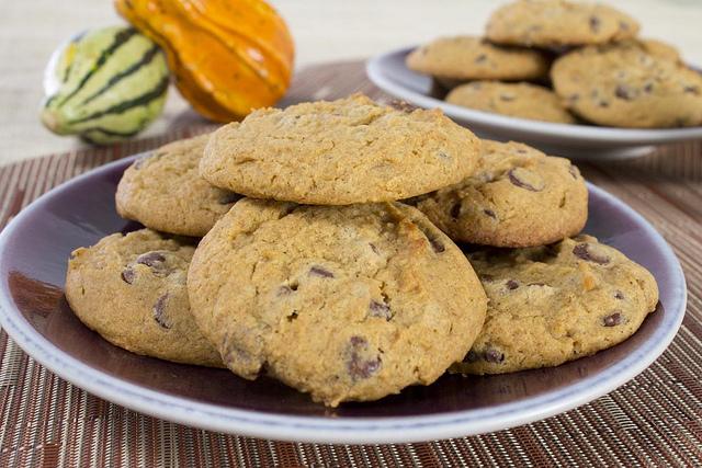 Pumpkin Chocolate Chip Cookies on Jars Ceramics plates