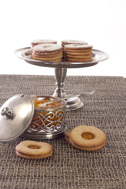 Linzer Cookies on a Match Pewter Pedestal Tray