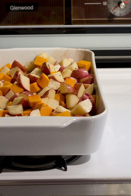 Roasted root vegetables in a Pillivuyt Porcelain Baker