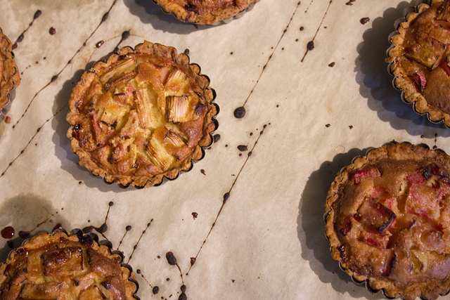 Rhubarb tarts fresh out of the oven