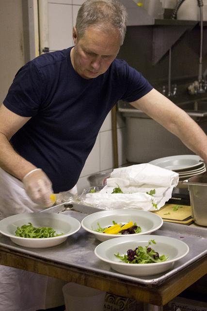 Rene prepping salads
