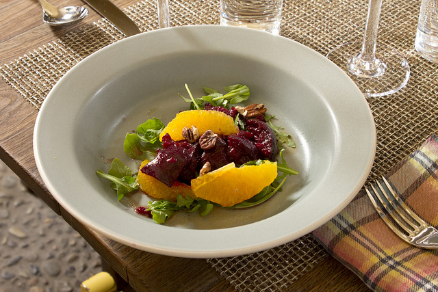 Plated beet and orange salad