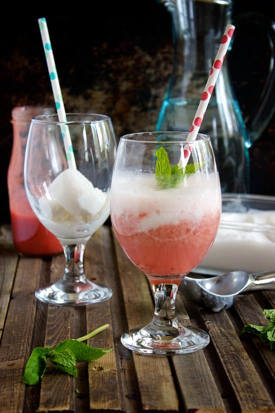 Rhubarb Strawberry Floats