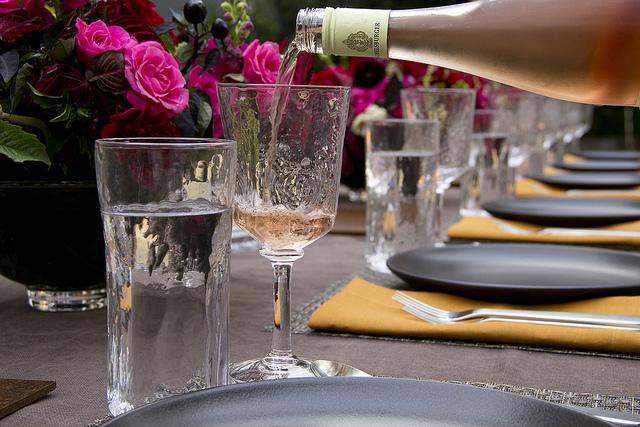 Wine pour into Simon Pearce Woodbury glass