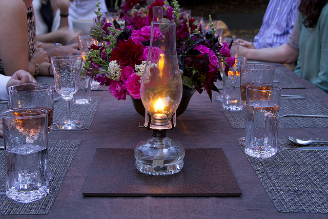 Table setting at nightfall