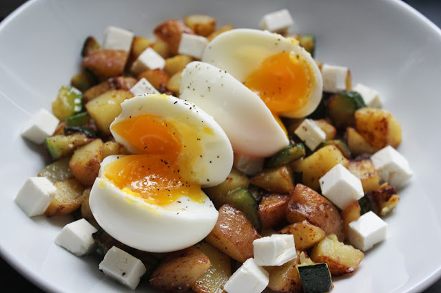 Zucchini Hash with Soft Cooked Eggs