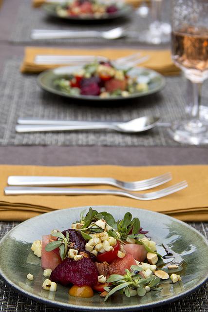 Watermelon, beet, tomato and corn salad