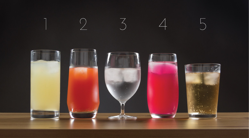 L to R: Iceberg Iced Beverage, Pure Long Drink, Cru Classic Water, Banquet Iced Beverage, Bar Basic Softdrink No. 2