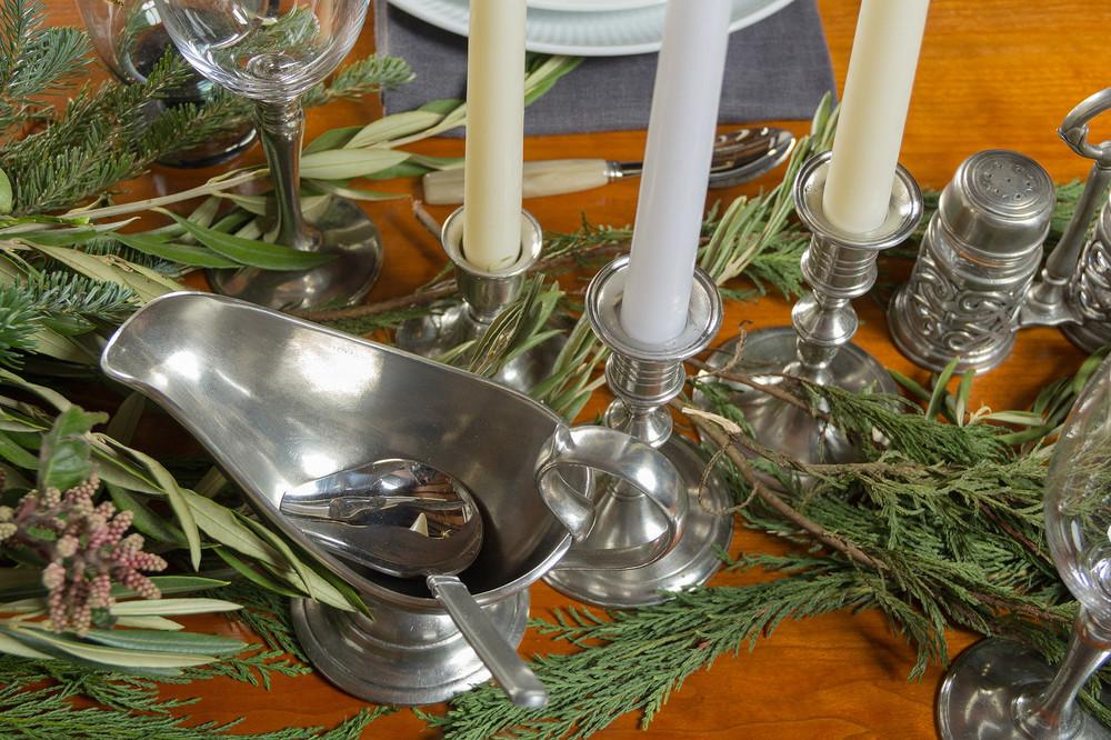 Match Pewter gravy service, candlesticks
