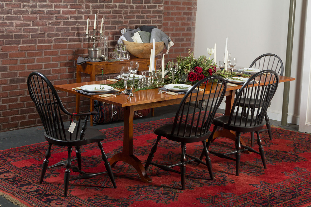 Table and chairs from  Furniture by Dovetail  and  Adriance Furnituremakers   , rug selected and provided by   Gregorian Oriental Rugs