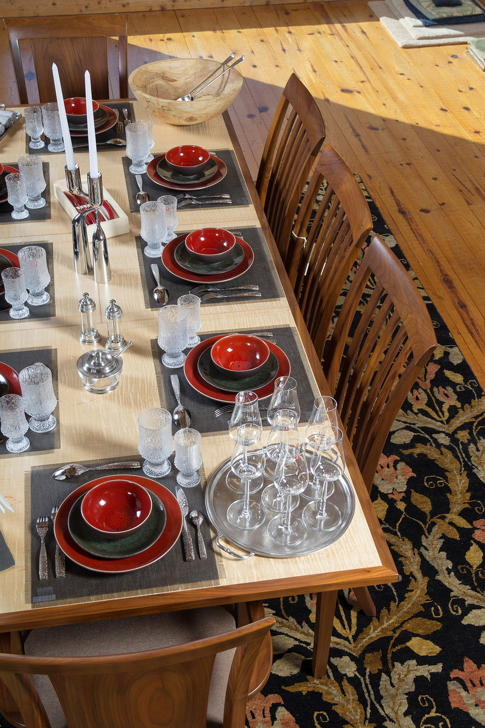 iittala Essence Plus Champagne glasses, Match Pewter Round tray with handles. Furniture from Furniture by Dovetail and Adriance Furnituremakers, rug provided and selected by Gregorian Oriental Rugs.