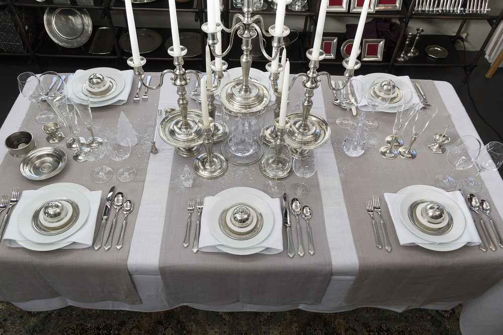 Royal Copenhagen White Fluted Plain tableware, Match Pewter accents