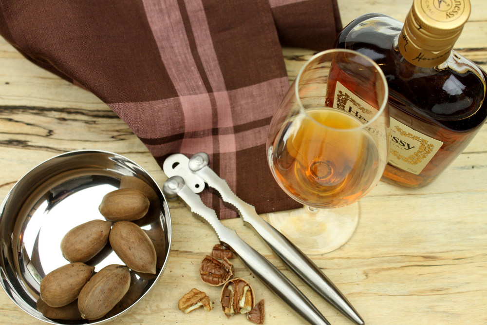 Alessi nut cracker, Schott Zwiesel Enoteca Cognac glass, Libeco Home Hudson tea towel, Spencer Peterman spalted board