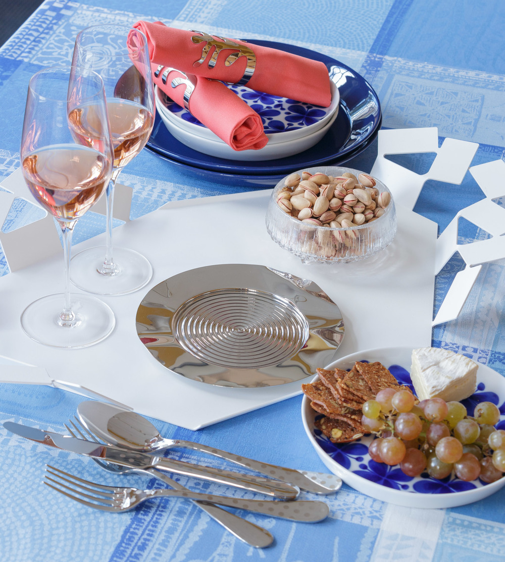 Alessi Scirocco Tray, Sabre Metal Dots flatware, Garnier-Thiebaut coated table linen
