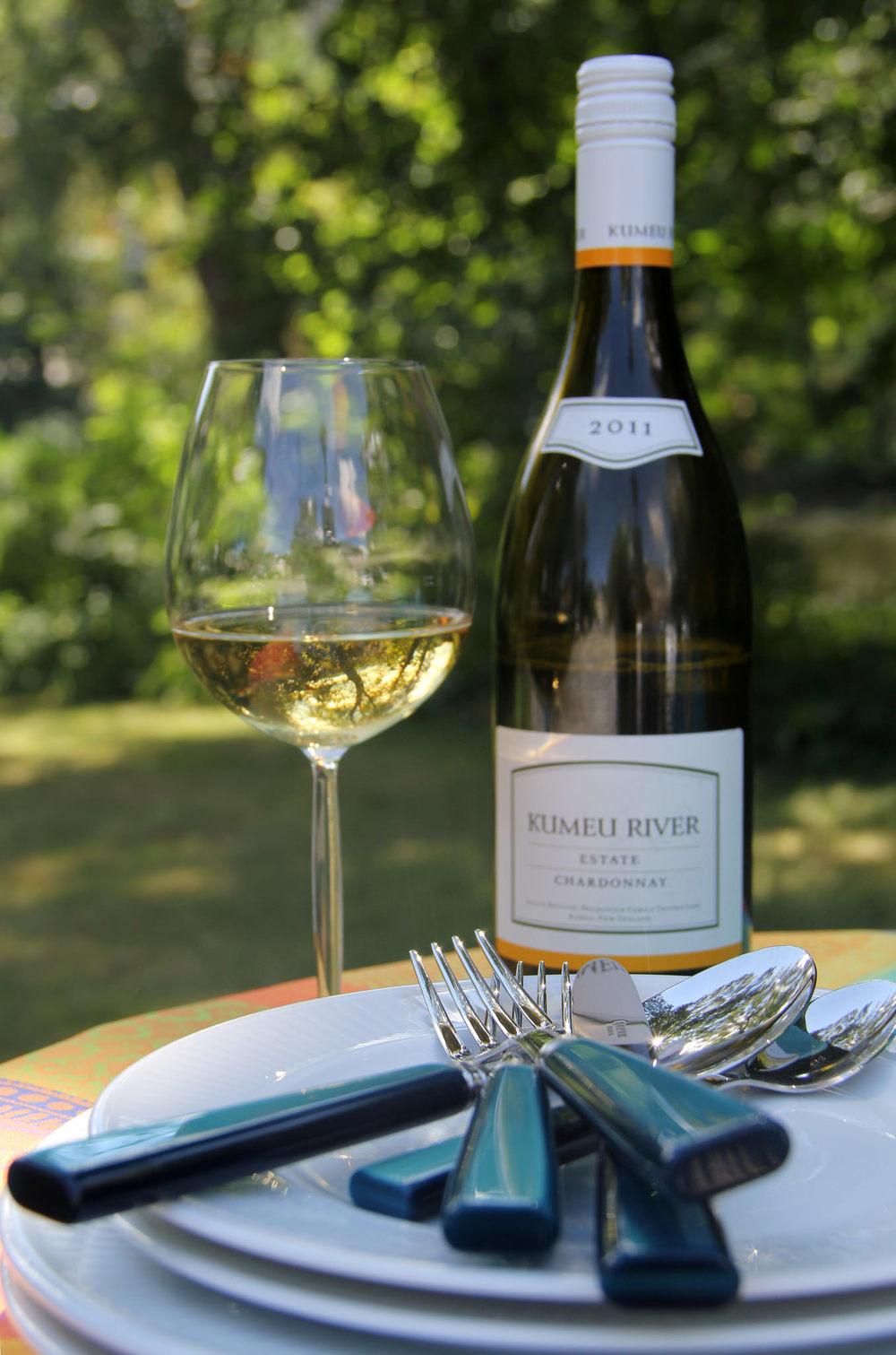Schott Zwiesel Diva Living Chardonnay glass, Sabre Paris Natura flatware, Pillivuyt Plisse tableware