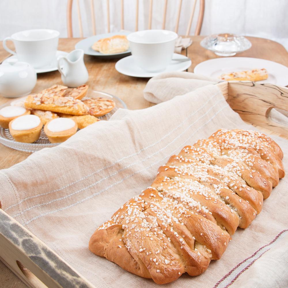 Spencer Peterman Tray in Spalted Maple ,  Libeco Home Rya Napkin in Camel Stripe ,  Rostrand Swedish Grace Dinnerware
