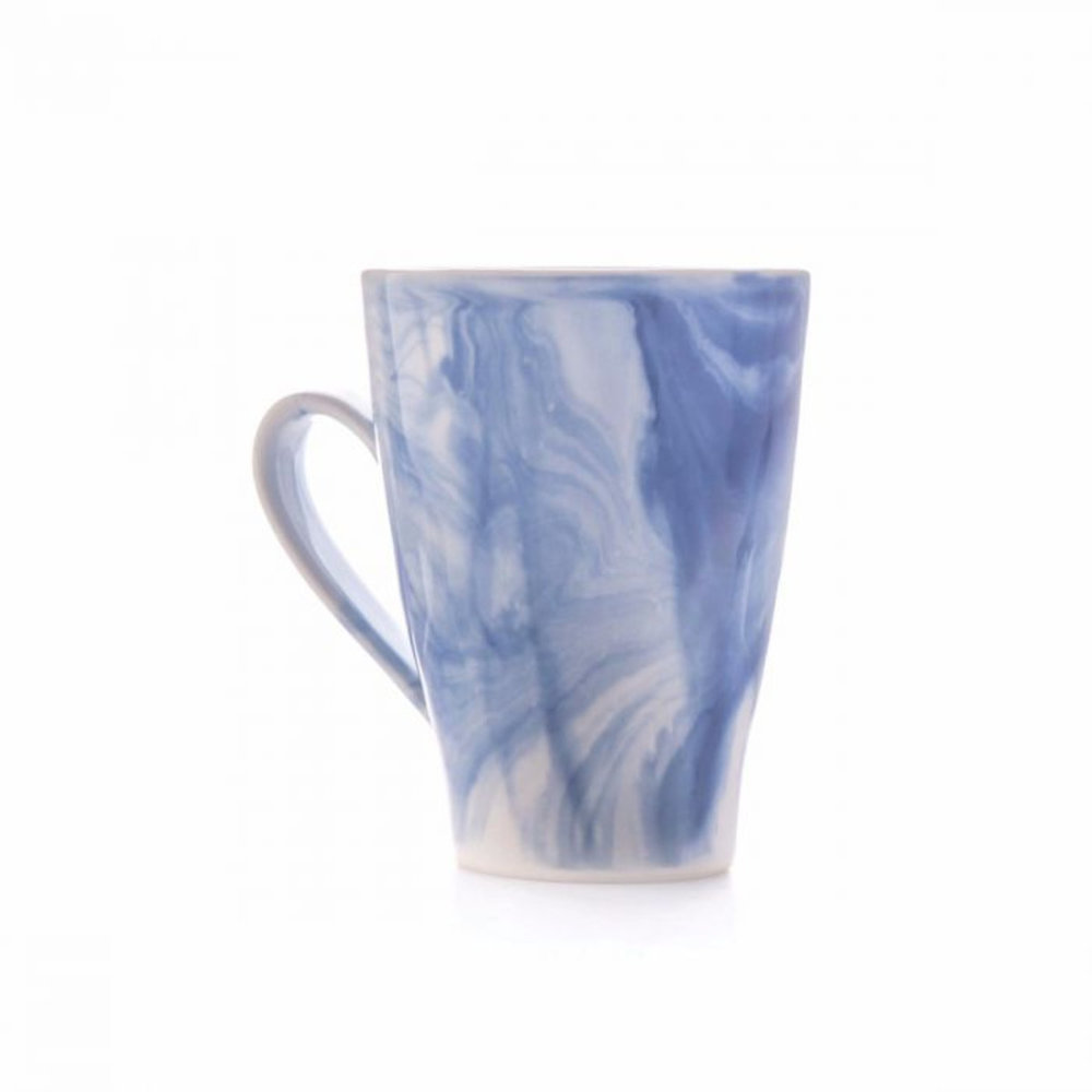 Indigo Marble Mug - Marble is in and this collection from Simon Pearce is artisanal and created using a two-part glazing process. Buy a mug, serving piece or a whole dining set. Also available in Grey. $45+