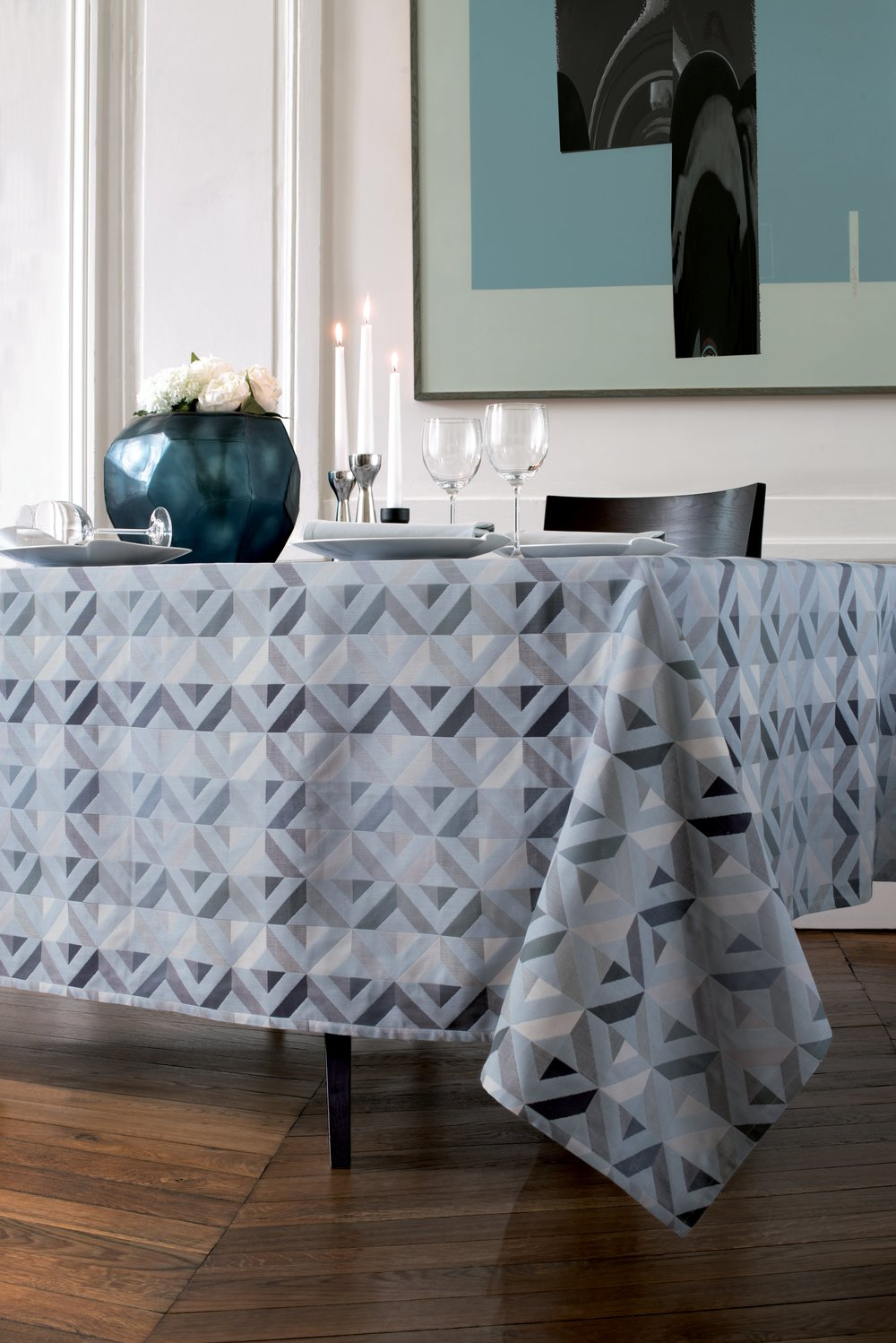 Mille Twist Tablecloth In Asphalte