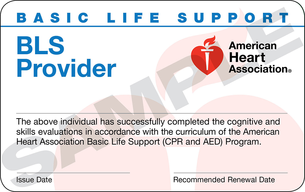 Note:AHA has updated their BLS Provider Name & Card Design