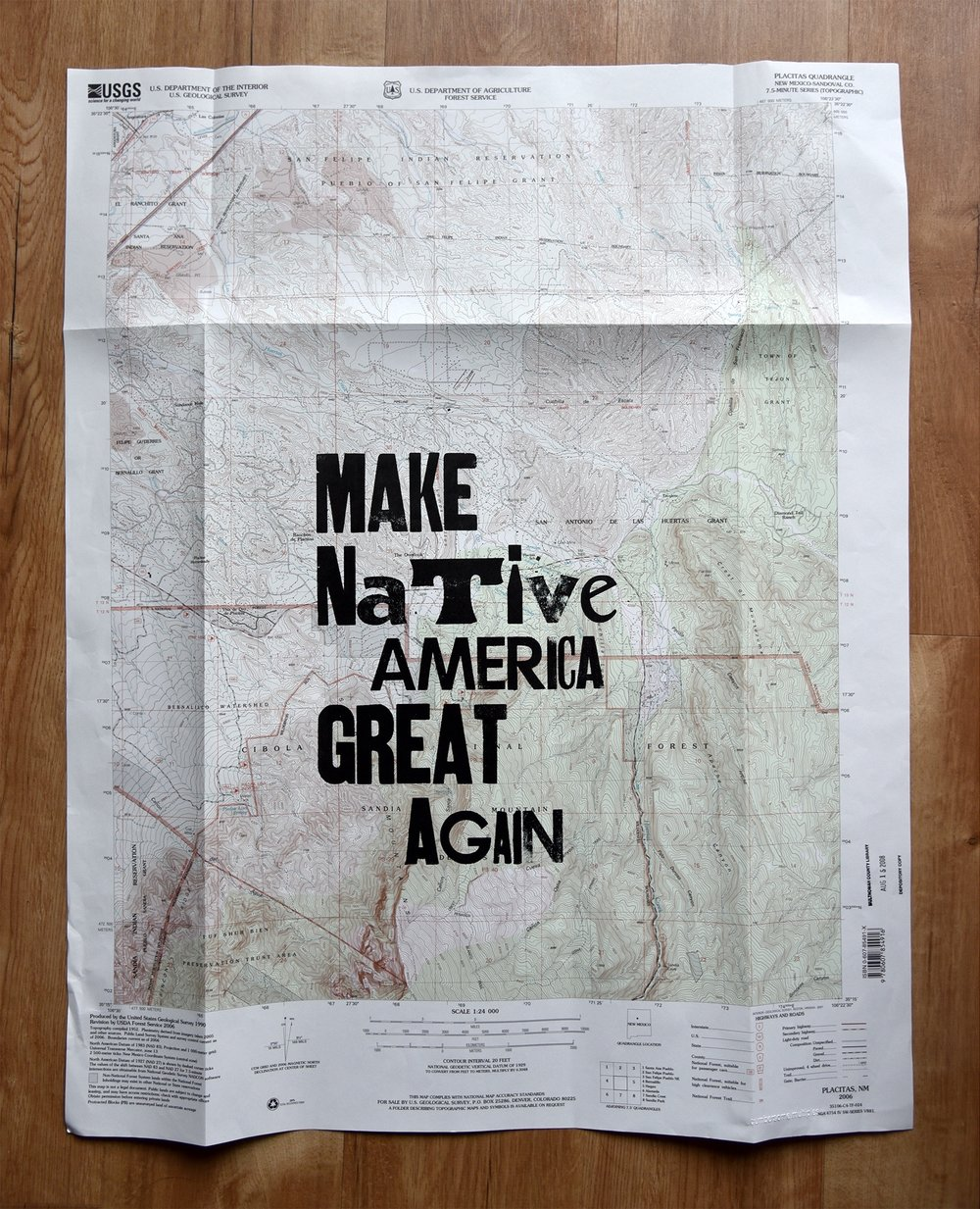 Collaborative print with Demian Diné Yazhi' @hetrogeneoushomosexual, wooden type and map of native land (isn't it all?), 2016