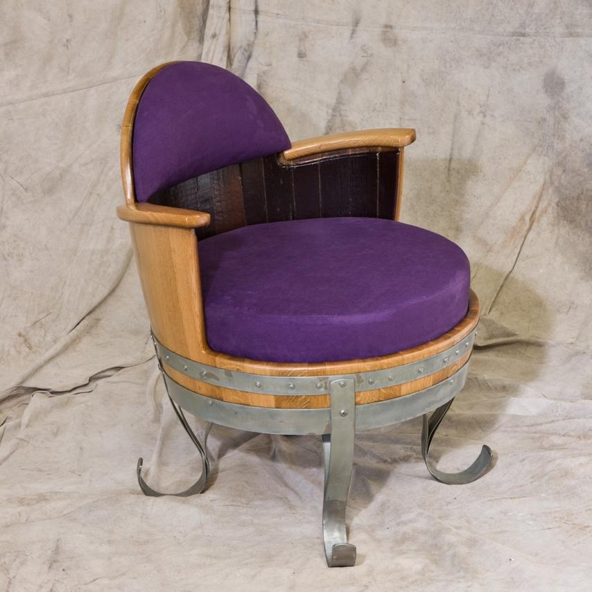 Delicieux Half Barrel Purple Suede Upholstered Chair