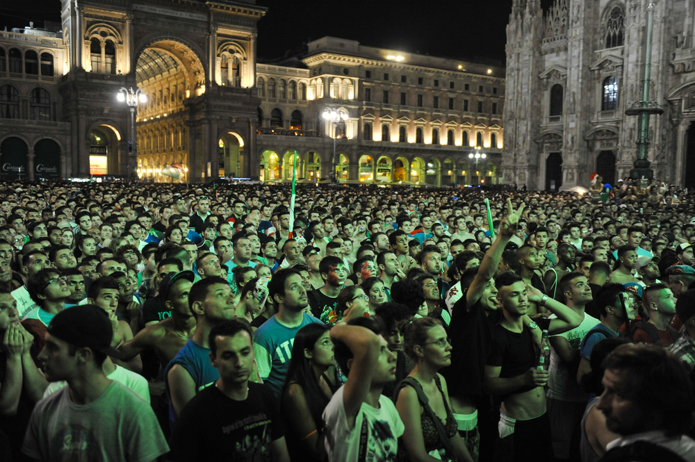 Watching World Cup on the big screen in the Piazza del Duomo in Milan