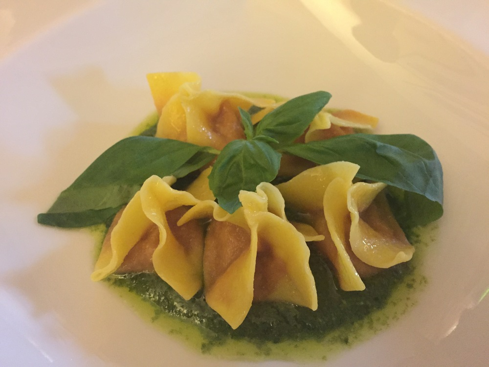 Fabulous take on a traditional dish:  ravioli stuffed with the Florentine pappa al pomodoro.  We made this in cooking class. Actually, we made something resembling this and then the chefs prepared the real thing for our lunch.