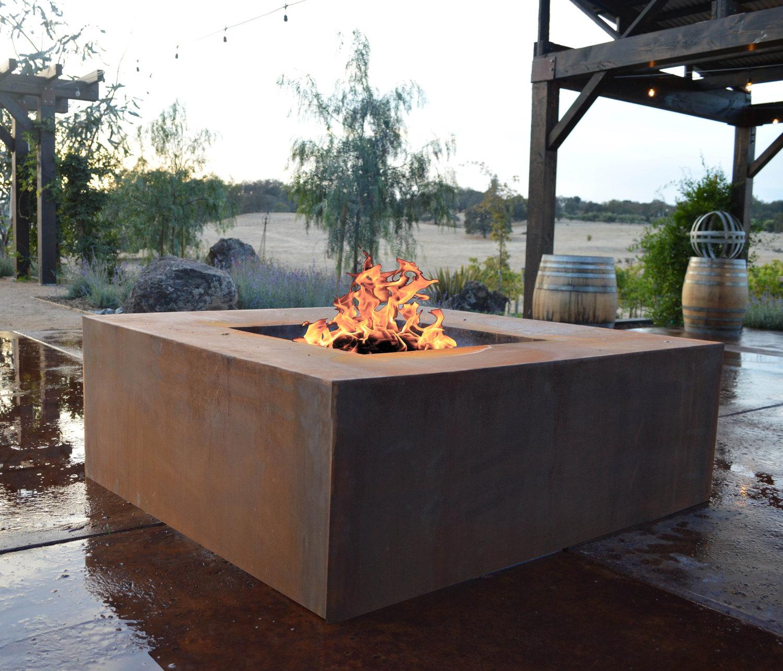 "48"" CORTEN METAL FIRE PIT (Wood Burning) - 48"" CORTEN METAL FIRE PIT (Wood Burning) — Jake Moss Designs"