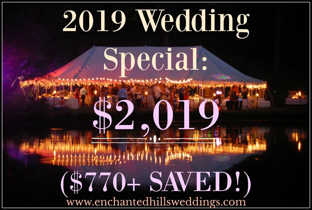 Up to 75 guests, 1 hour coordinated rehearsal, 8 hours on wedding day, use of pavilion, chairs, tables, linens (any color), trash/recycling service and use of our manor as a bridal suite!  ALL for just $2,109 ($10 per each additional person)  Call Athena for details! 417-425-7948