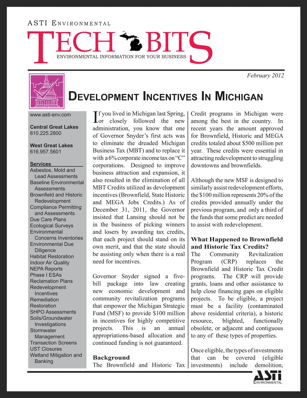 TECH BITS DEVELOPMENT INCENTIVES IN MICHIGAN