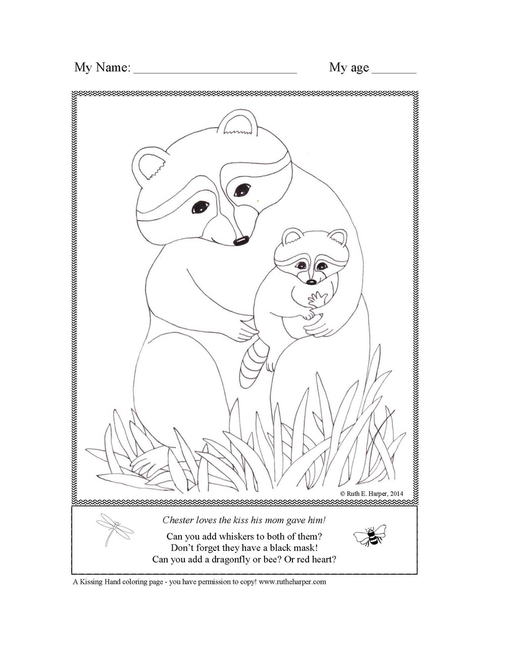 kissing hand coloring pages