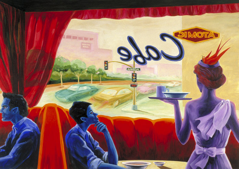 """Aphrodite at the Atomic Cafe""  oil on canvas  48"" x 72""  - SOLD"
