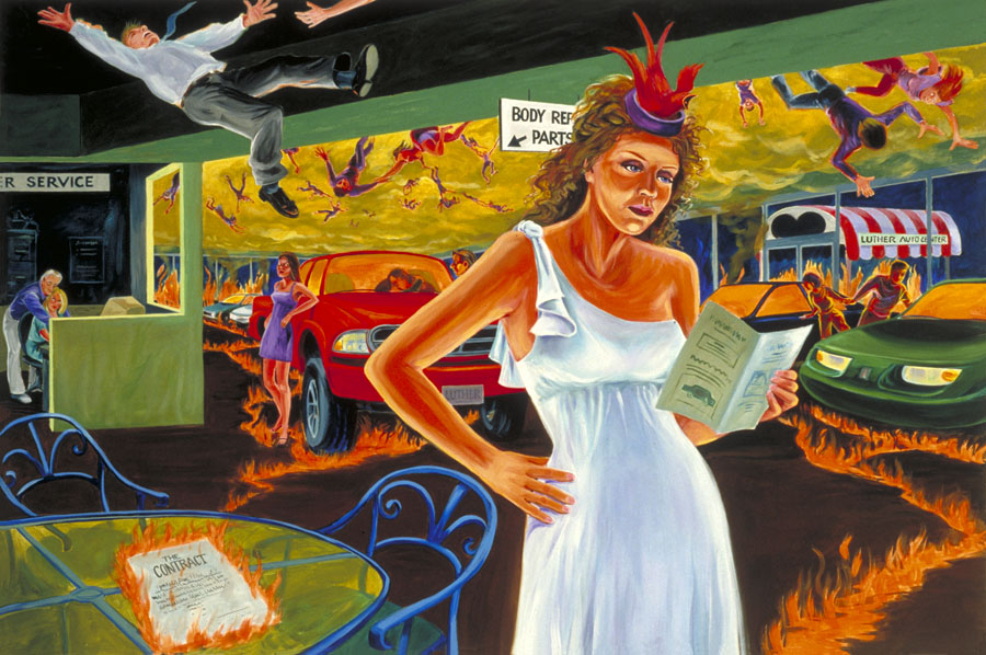 """Aphrodite at the Car Dealership""  oil on canvas  48"" x 72""  - SOLD"