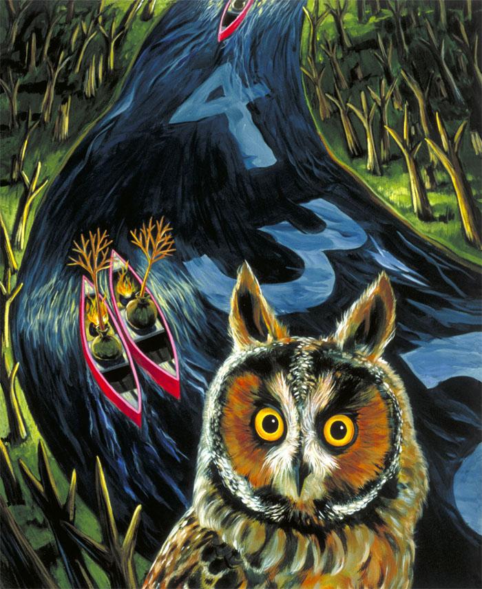 """Long-Eared Owl""   acrylic on canvas  32"" x 26""  SOLD"