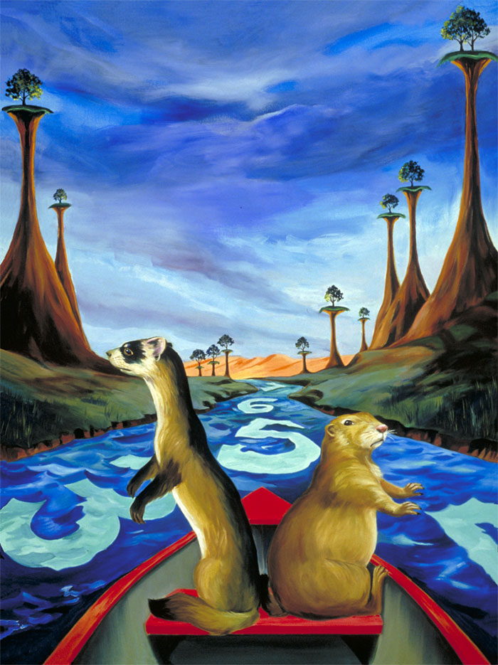"""Black-footed Ferret & Prairie Dog""  oil on canvas  40"" x 30""  SOLD"