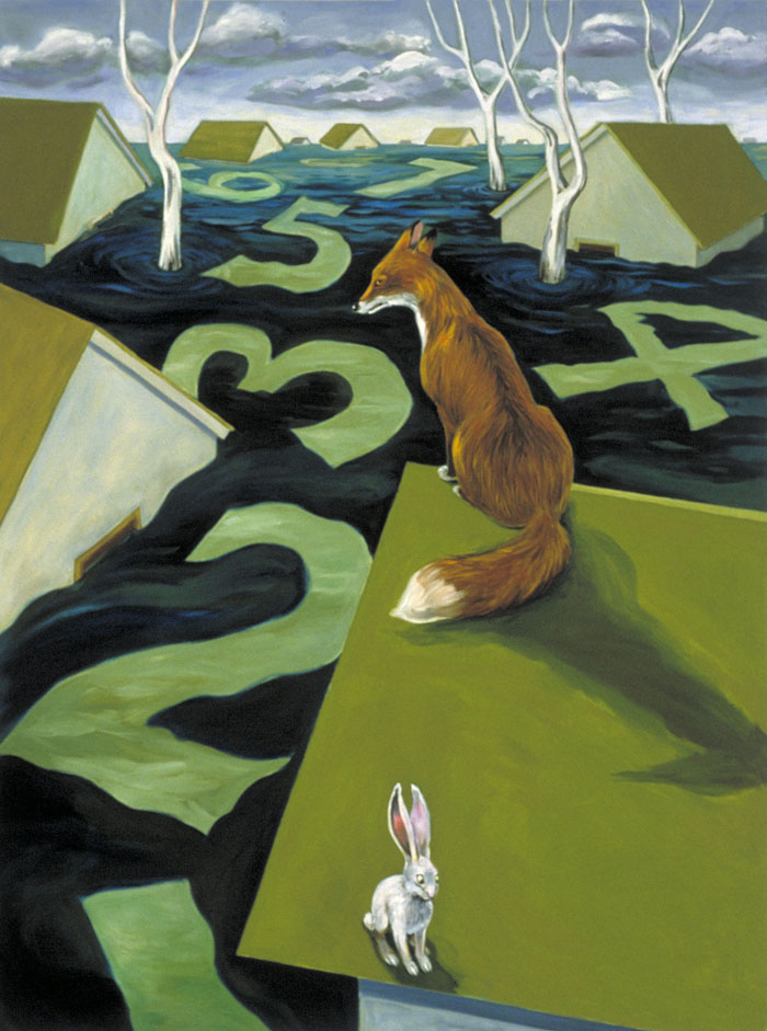 """Fox & Hare""  oil on canvas  40"" X 30""  SOLD"