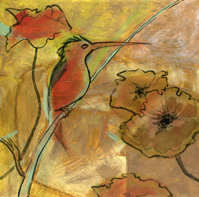 """Hummingbird and Poppies"""