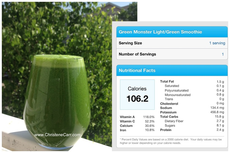 recipe: green monster light smoothie — christene carr, Reel Combo