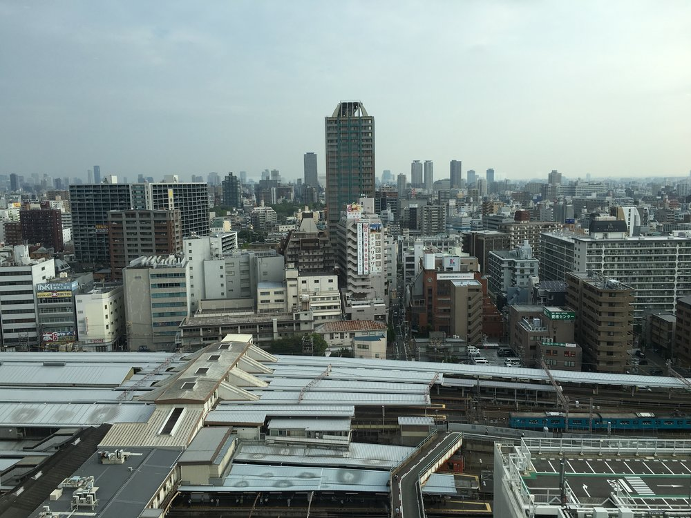 Lovely Osaka skyline view from our hotel.